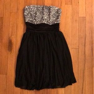 Macy's Black & White Strapless Dress